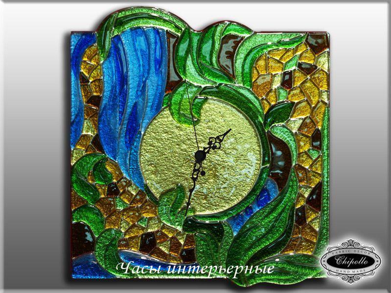 часы с цветным стеклом Водопад