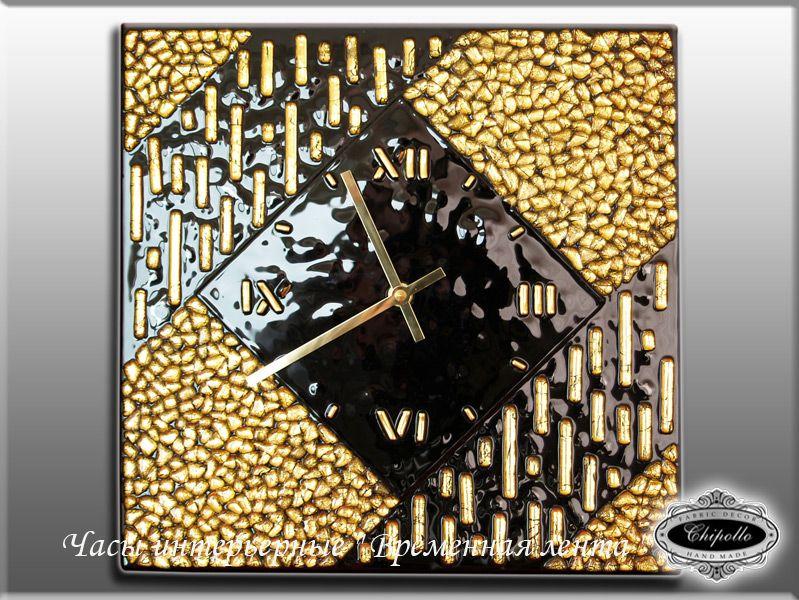 часы в золотым витражом