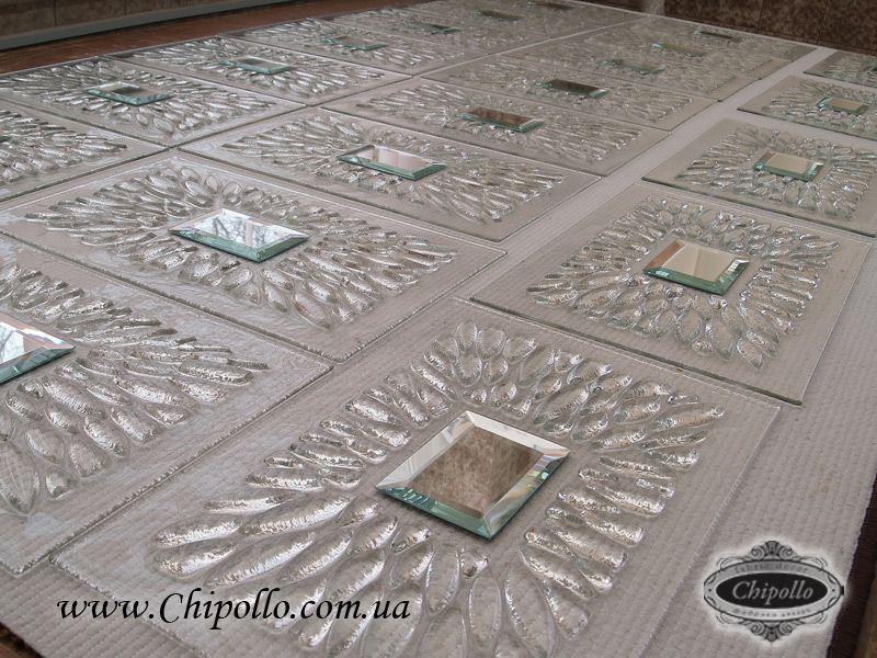 плитки из стекла с зеркалами (фьюзинг)