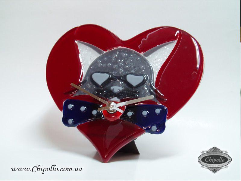 красное сердце с мышкой (фьюзинг)