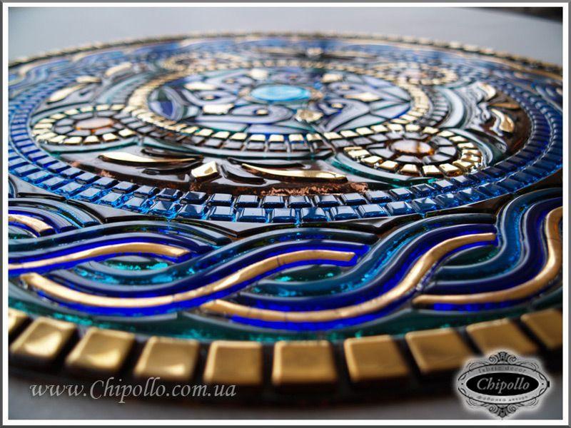 цветная мозаика - круг в технике фьюзинг