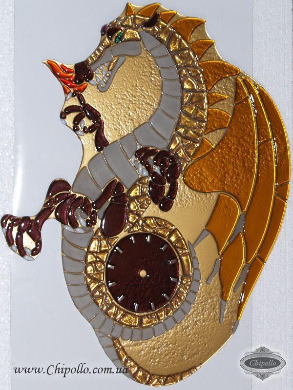 декоративные часы из цветного стекла