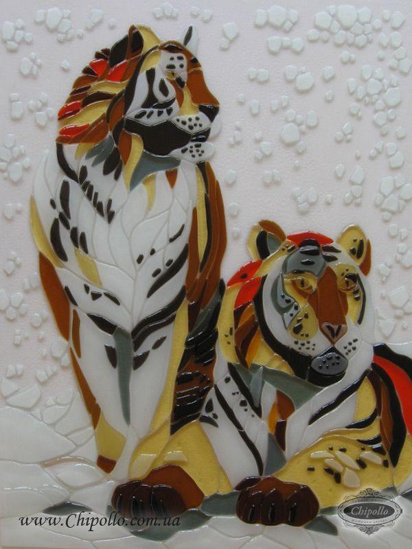 витраж тигры из цветного стекла