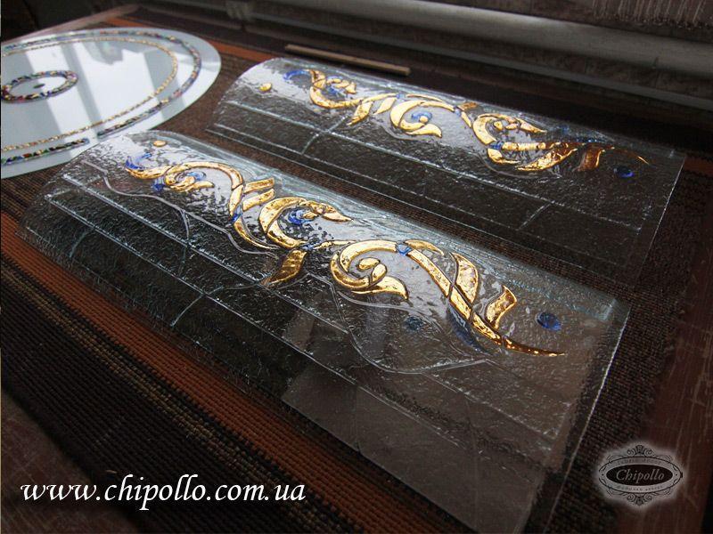 художественное стекло с золотом