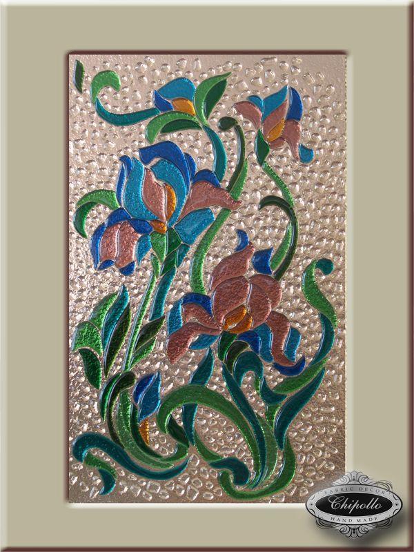 витражные стекла для кухонных фасадов с цветами