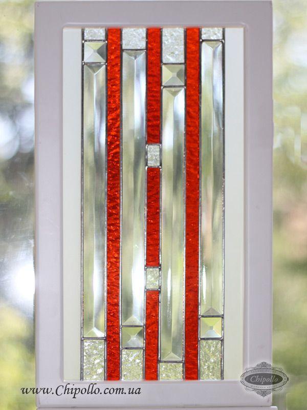 витраж для кухонного фасада с красными линиями