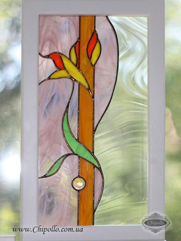 витраж для кухонного фасада с цветком