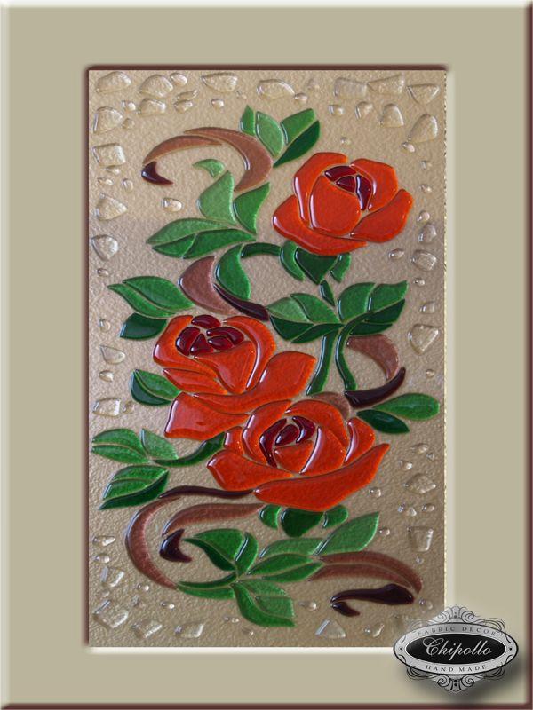 кухонные витражи с розами из цветного стекла