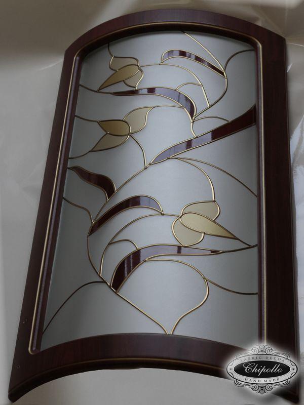 матовые витражные стекла для кухонных фасадов с золотом