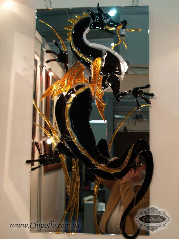 витражное зеркало Дракон