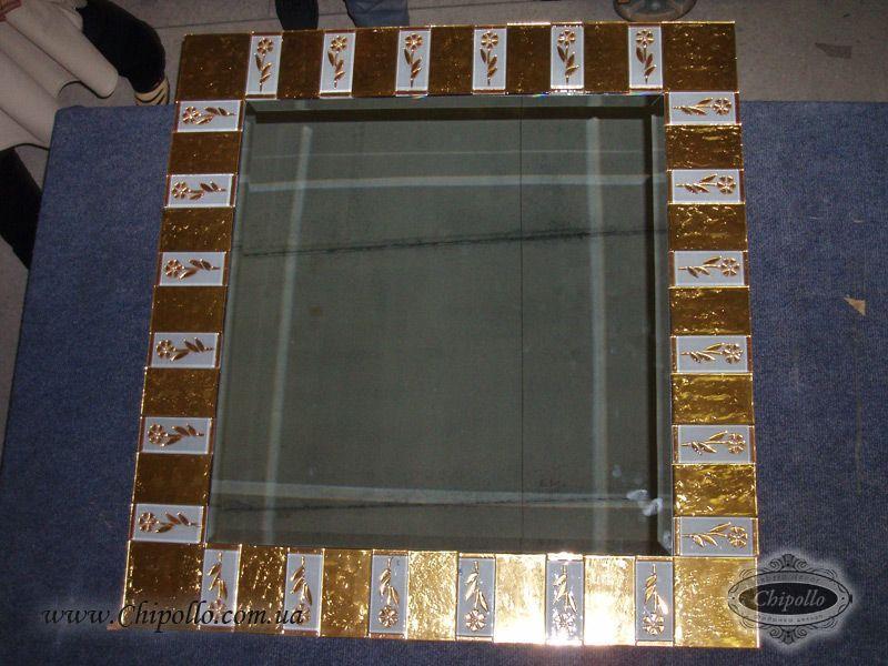 зеркало с золотым витражом