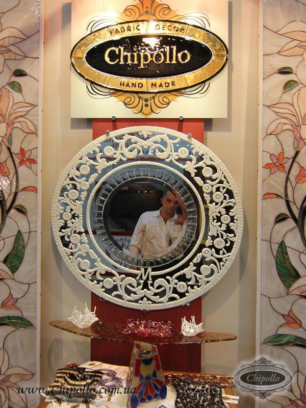 круглое интерьерное зеркало с витражом