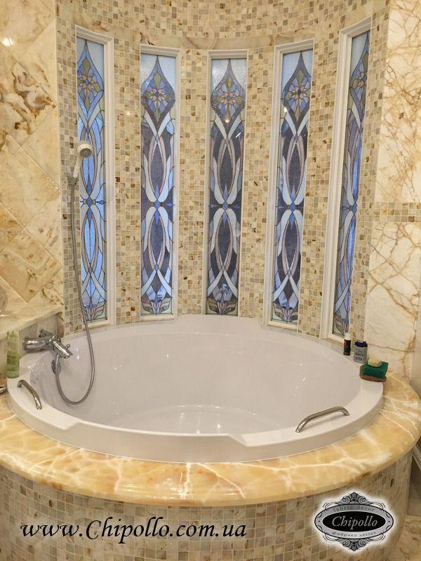 витражные стекла в ванную комнату