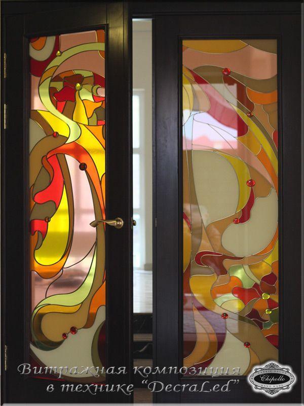витражное стекло в двери (техника decra led)