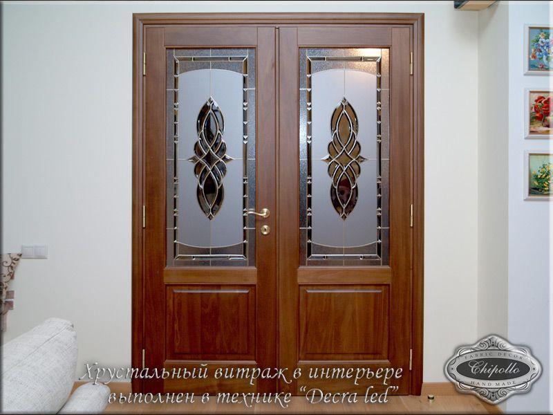 витражное окно в технике decra led