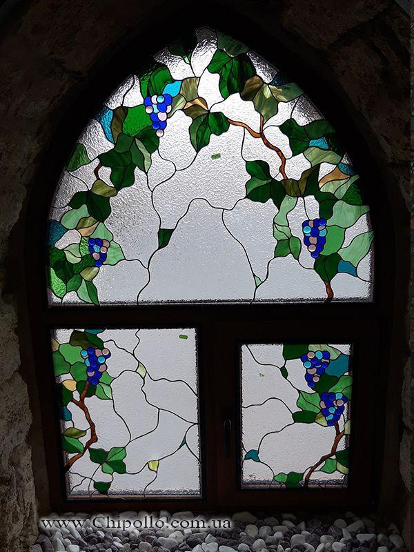 витраж для окна виноградная лоза