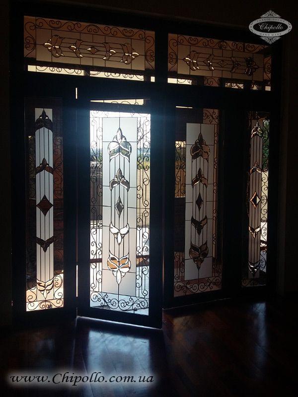 витражные двери с матовым стеклом