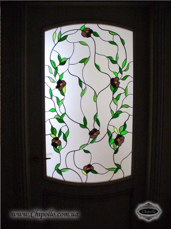 окно с витражом в дверь Лиана