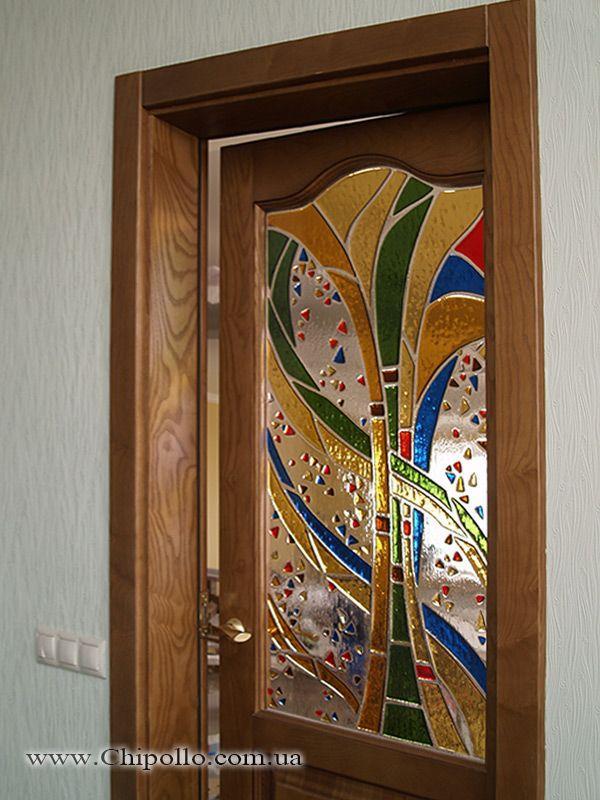 витражное окно в дверь